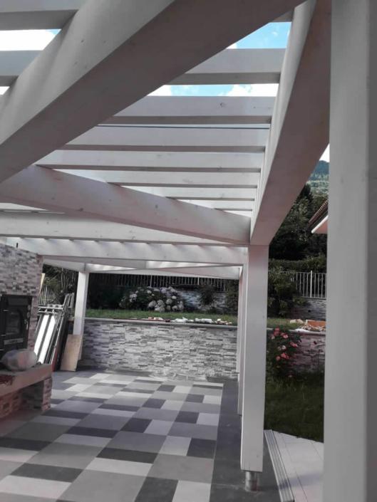 Emmeproject - Copertura in vetro pergolato in legno